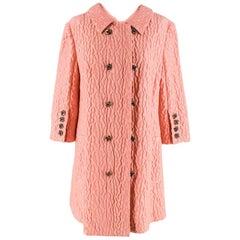 Dolce & Gabbana Pink Floral Jacquard Wool Blend Coat - Size US10