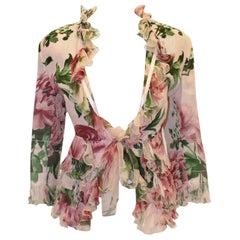 Dolce & Gabbana  Pink Floral Print Fringe & Ruffle Jacket