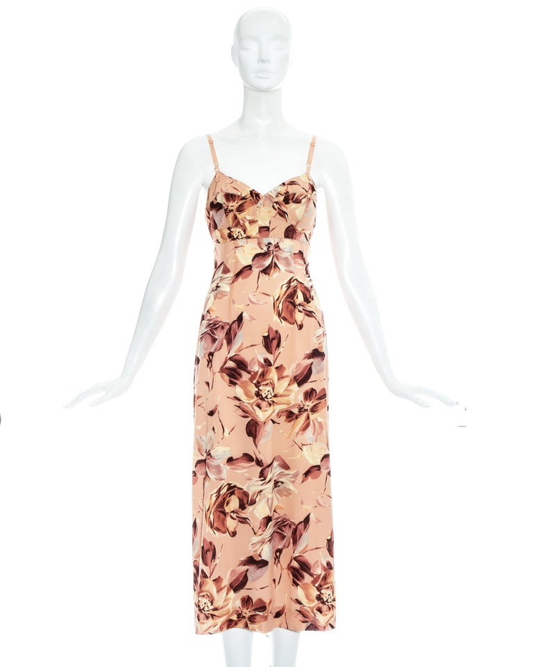 Dolce & Gabbana pink floral printed silk dress with attached nude bra.  Spring-Summer 1997