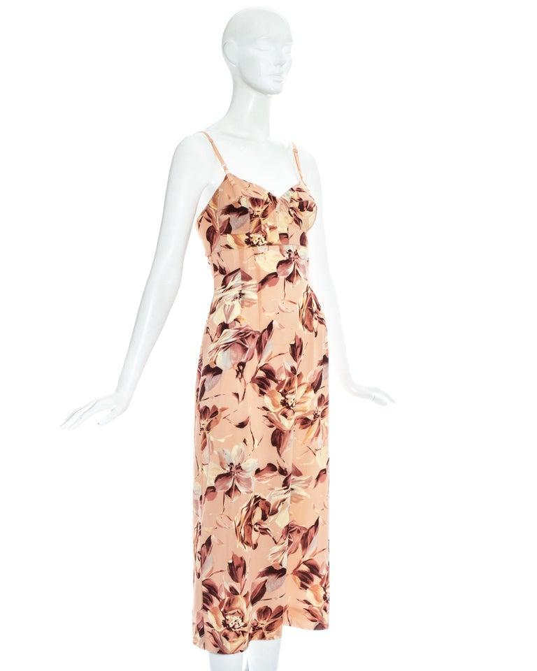 Beige Dolce & Gabbana pink floral printed silk dress, ss 1997 For Sale