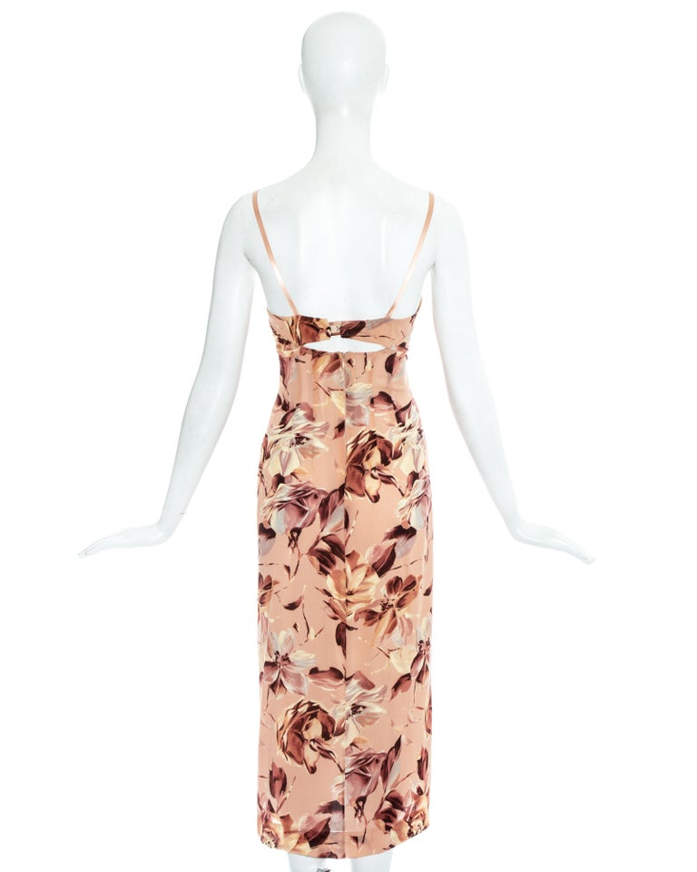 Dolce & Gabbana pink floral printed silk dress, ss 1997 For Sale 1