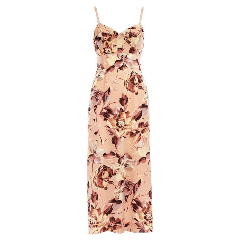 Dolce & Gabbana pink floral printed silk dress, ss 1997 For Sale