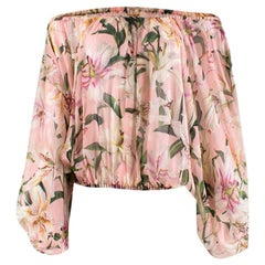 Dolce & Gabbana Pink Floral Sheer Off-Shoulder Top XXS 38