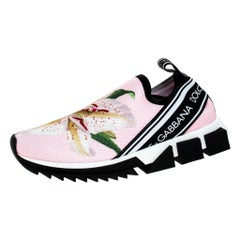 Dolce & Gabbana Pink Floral Stretch Fabric Sorrento Slip-On Sneakers Size 36.5