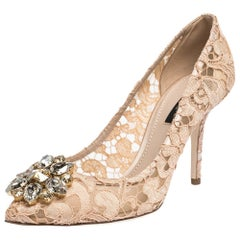 Dolce & Gabbana Pink Lace Jeweled Embellishment Pointed Toe Pumps Size 38.5