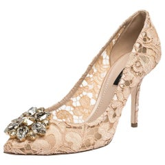 Dolce & Gabbana Pink Lace Jeweled Embellishment Pointed Toe Pumps Size 41