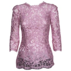 Dolce & Gabbana Pink Lace Three Quarter Sleeve Top S