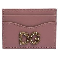 Dolce & Gabbana Pink Leather DG Amore Card Holder