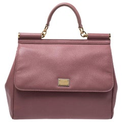 Dolce & Gabbana Pink Leather Large Miss Sicily Top Handle Bag