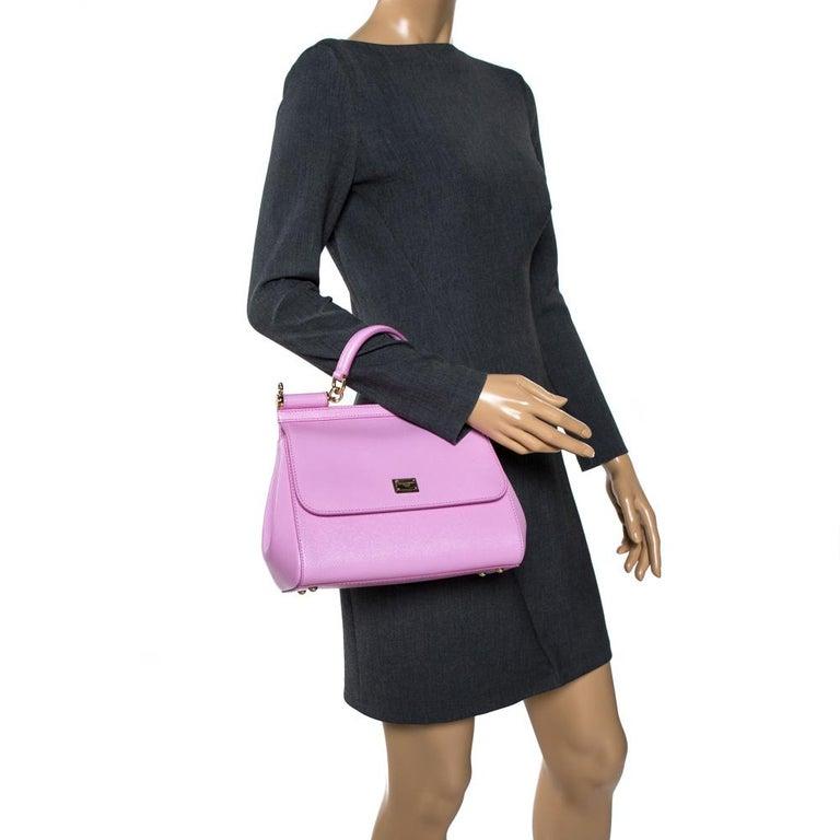 Dolce & Gabbana Pink Leather Medium Miss Sicily Bag In Excellent Condition In Dubai, Al Qouz 2