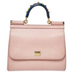Dolce & Gabbana Pink Leather Medium Miss Sicily Top Handle Bag