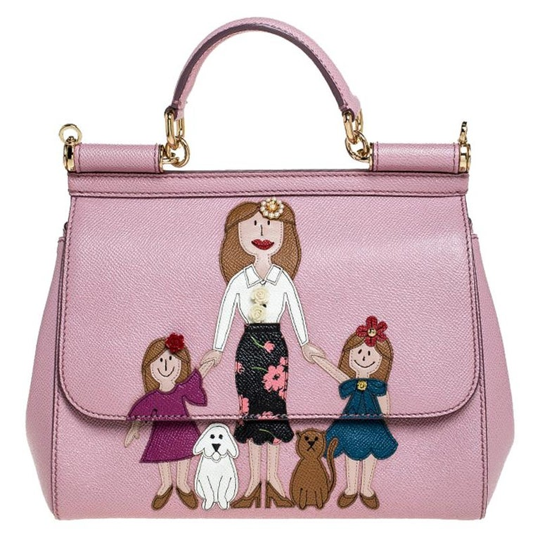 Dolce & Gabbana Pink Leather Medium Viva La Mamma Miss Sicily Bag For Sale