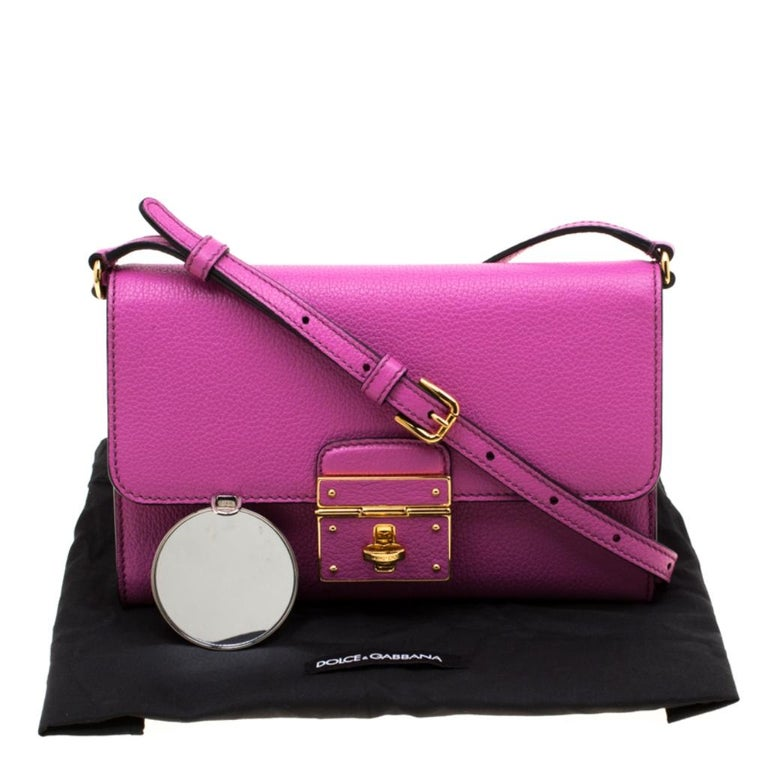 Dolce & Gabbana Pink Leather Rosalia Crossbody Bag For Sale 7