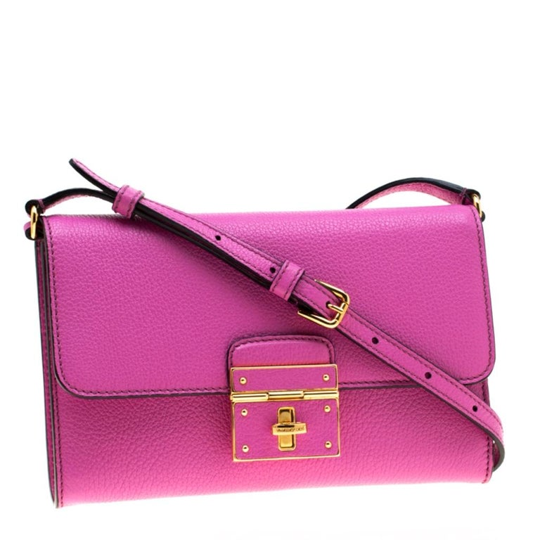 Women's Dolce & Gabbana Pink Leather Rosalia Crossbody Bag For Sale