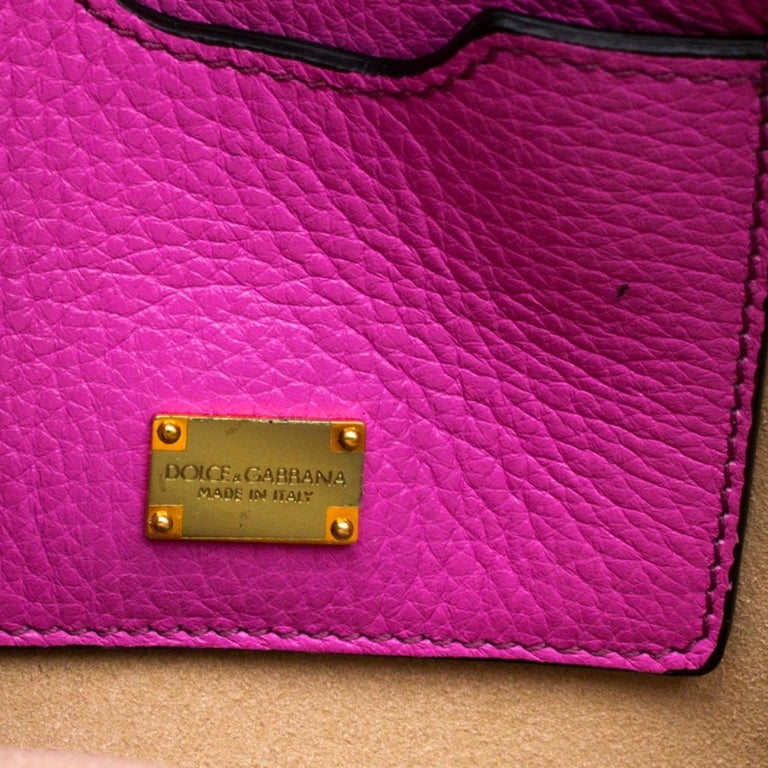 Dolce & Gabbana Pink Leather Rosalia Crossbody Bag For Sale 2