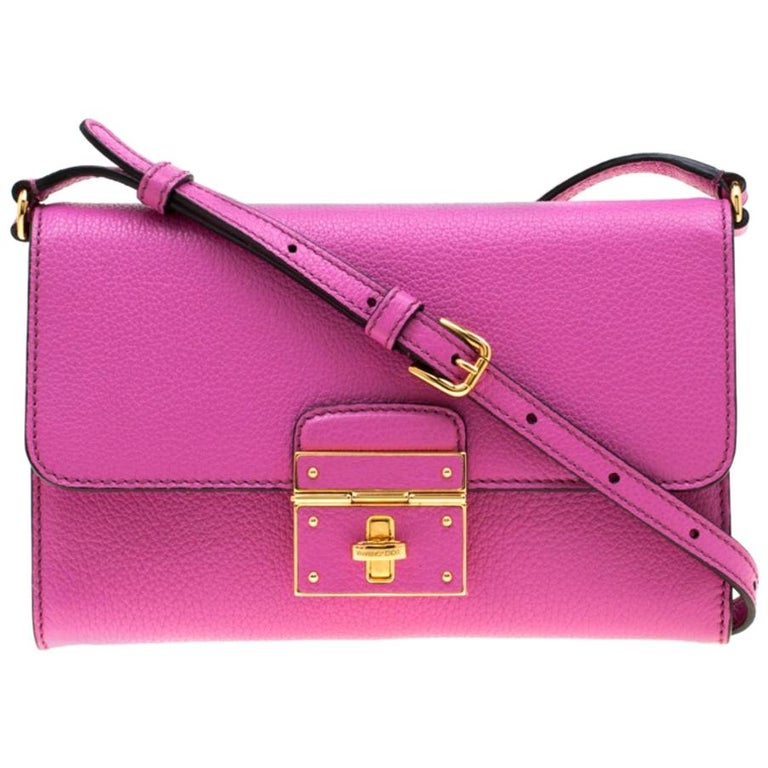 Dolce & Gabbana Pink Leather Rosalia Crossbody Bag For Sale