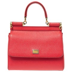 Dolce & Gabbana Pink Leather Small Miss Sicily Top Handle Bag