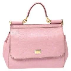 Dolce & Gabbana Pink Lizard Embossed Leather Medium Miss Sicily Top Handle Bag