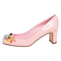 Dolce & Gabbana Pink Patent Leather Seamstress Block Heel Pumps 35.5