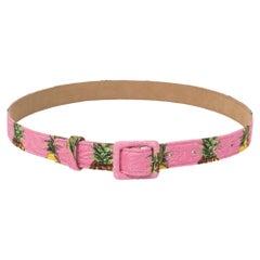 Dolce & Gabbana Pink Pineapple Print Fabric Buckle Belt 75CM