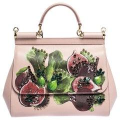 Dolce & Gabbana Pink Print Leather Embellished Medium Miss Sicily Bag