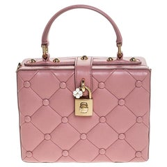 Dolce & Gabbana Pink Quilted Leather Box Top Handle Bag