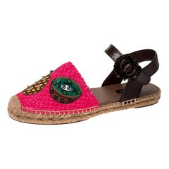 Dolce & Gabbana Pink Raffia And Brown Leather Pineapple Kiwi Patch Size 40