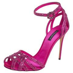Dolce & Gabbana Pink Satin Crystal Embellished Ankle Strap Sandals Size 38
