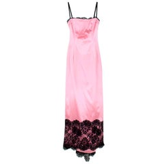 Dolce & Gabbana Pink Satin & Lace Gown SIZE UK 12/ US 8
