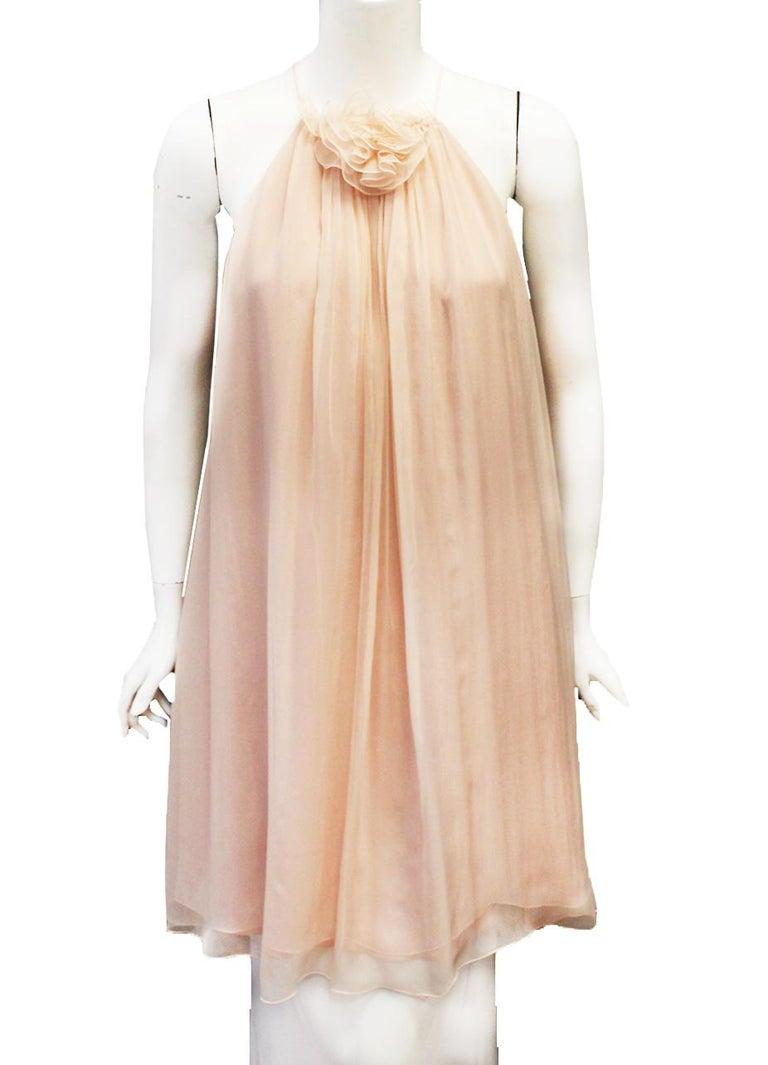 Brown Dolce & Gabbana Pink Silk Baby Doll Mini Dress