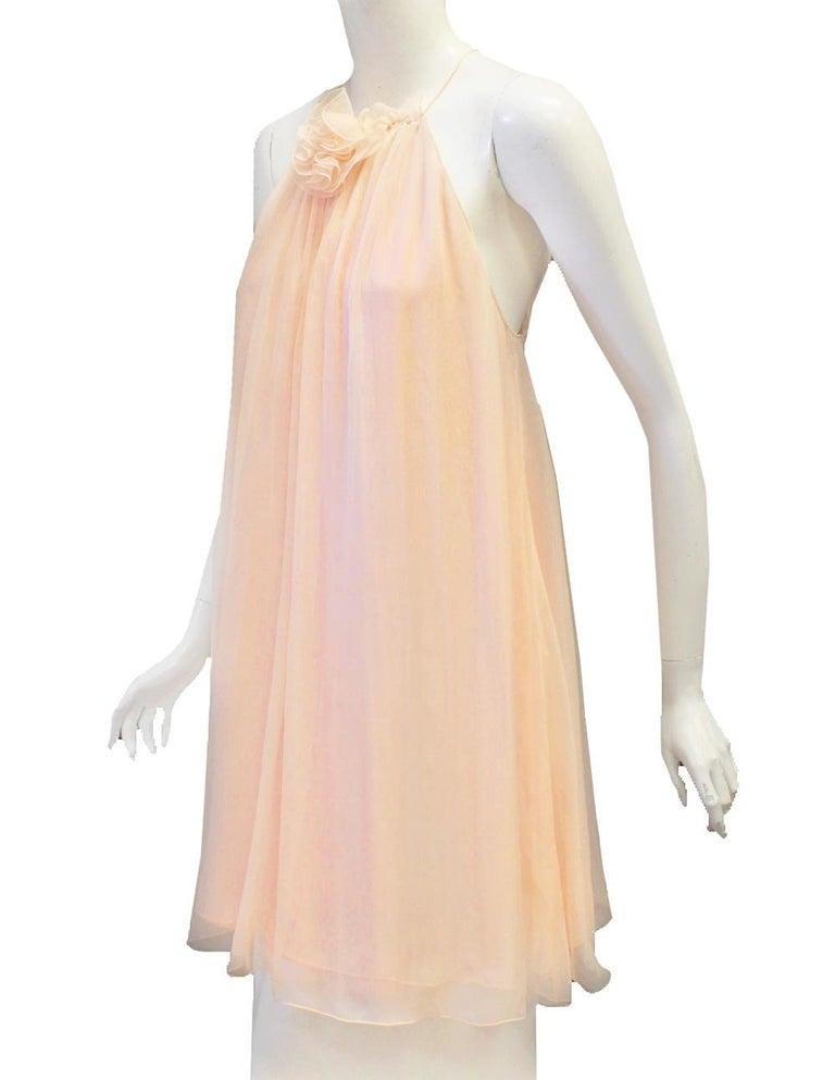 Dolce & Gabbana Pink Silk Baby Doll Mini Dress  In Excellent Condition In Palm Beach, FL