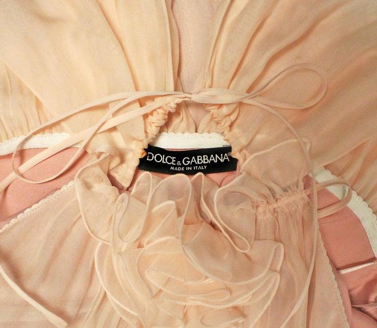 Dolce & Gabbana Pink Silk Baby Doll Mini Dress  1