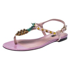 Dolce & Gabbana Pink Suede Leather Pineapple Embellished Flats Sandals Size 37