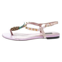 Dolce & Gabbana Pink Suede Pineapple Detail Ankle Strap Thong Sandals Size 38