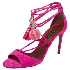 Dolce & Gabbana Pink Suede Pom Pom Tassel Ankle Wrap Sandals Size 36.5