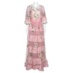 Dolce & Gabbana Pink Tulle Floral Applique Detail Maxi Dress IT 44