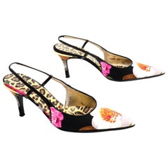 Dolce & Gabbana Pink White & Floral Slingback Pointed Toe Shoes w/ Box & Dustbag