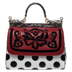 Dolce & Gabbana Polka Dots Leather Cut Out Medium Miss Sicily Top Handle Bag
