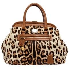 Dolce & Gabbana Pony Hair Leopard Kiss Lock Handbag