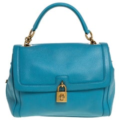 Dolce & Gabbana Powder Blue Leather Padlock Bag