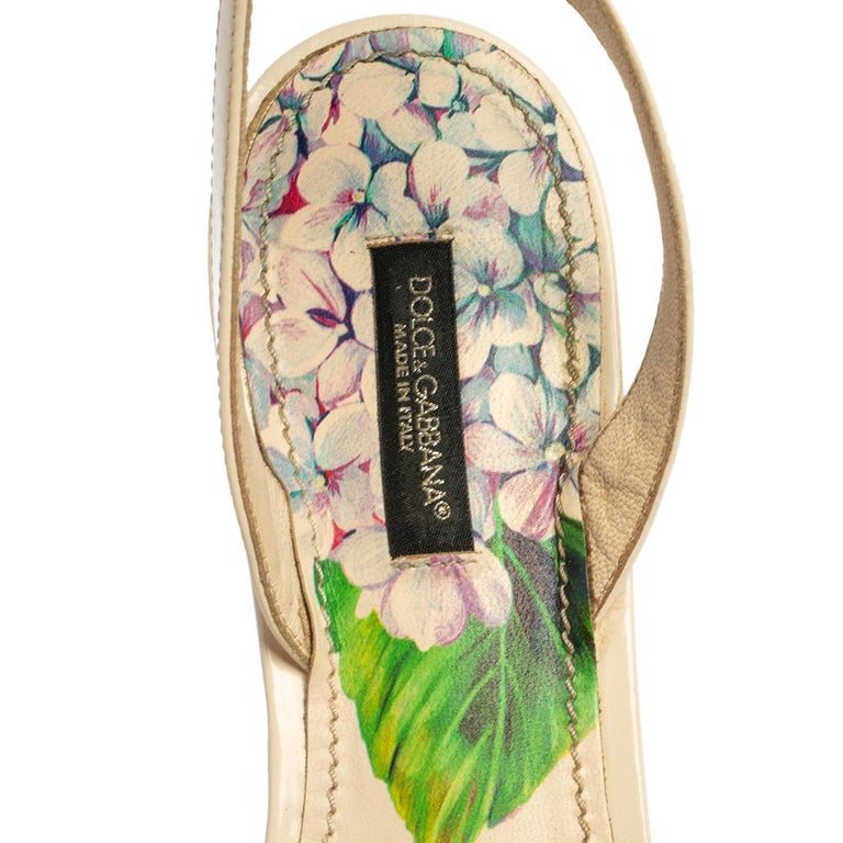 Dolce & Gabbana Print Patent Leather Crystal Ankle-Strap Flats Size 40 For Sale 1