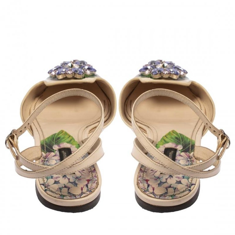 Dolce & Gabbana Print Patent Leather Crystal Ankle-Strap Flats Size 40 For Sale 2