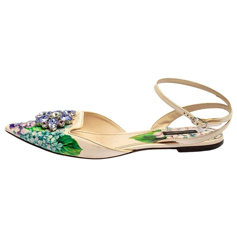 Dolce & Gabbana Print Patent Leather Crystal Ankle-Strap Flats Size 40 For Sale