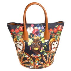 Dolce & Gabbana Printed Canvas and Leather Shopper Tote