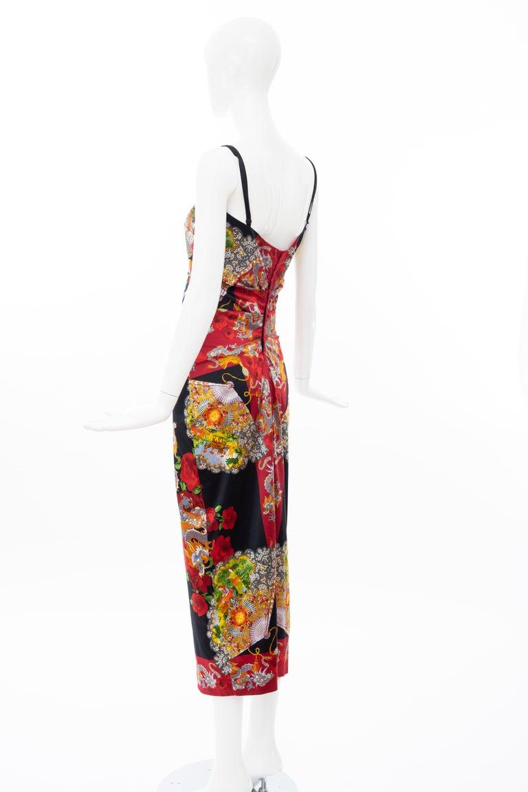 Dolce & Gabbana Printed Dragon & Fan Stretch Silk Satin Evening Dress,Circa 1999 For Sale 6