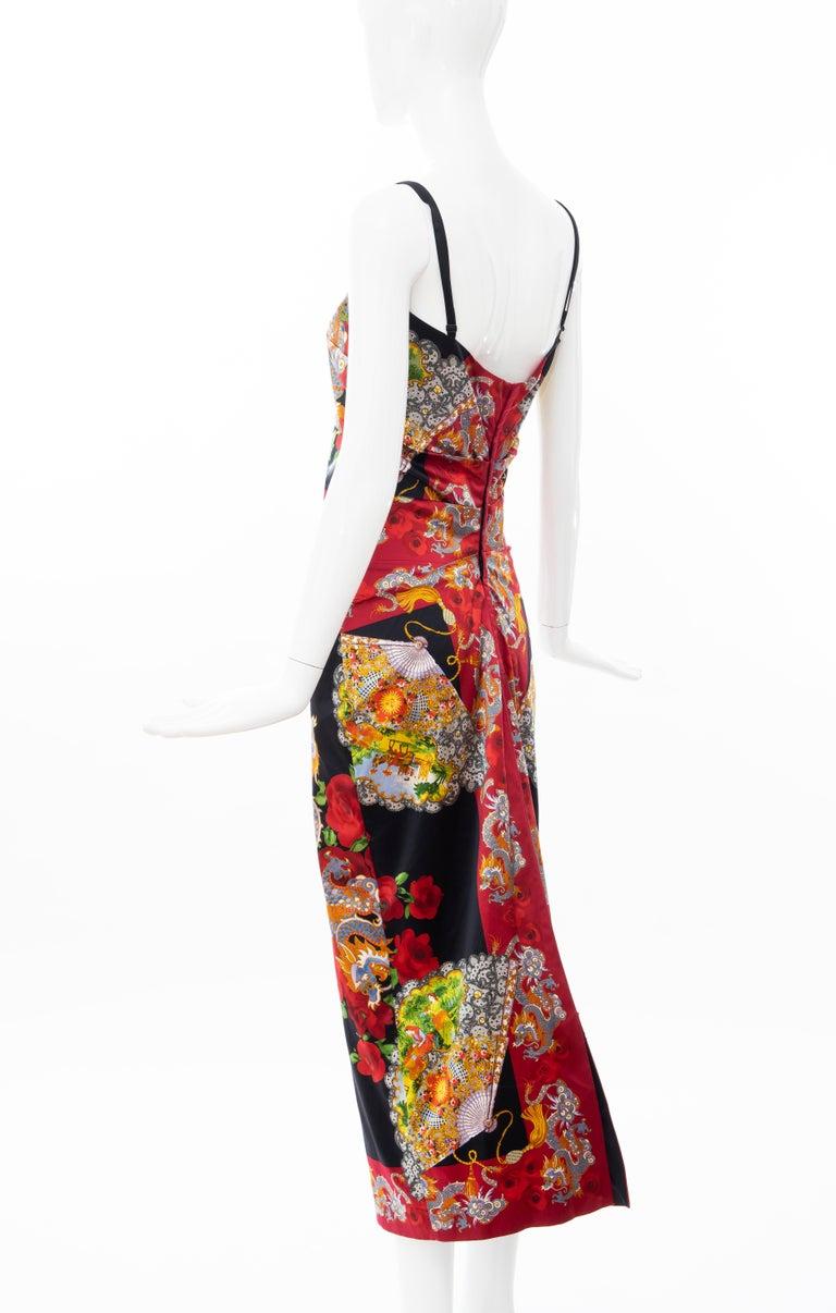 Dolce & Gabbana Printed Dragon & Fan Stretch Silk Satin Evening Dress,Circa 1999 For Sale 7