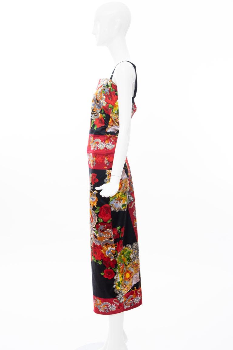 Dolce & Gabbana Printed Dragon & Fan Stretch Silk Satin Evening Dress,Circa 1999 For Sale 9