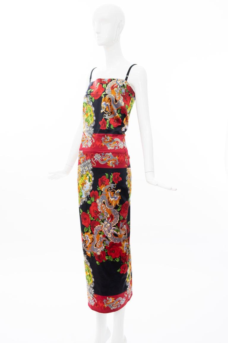 Dolce & Gabbana Printed Dragon & Fan Stretch Silk Satin Evening Dress,Circa 1999 For Sale 10