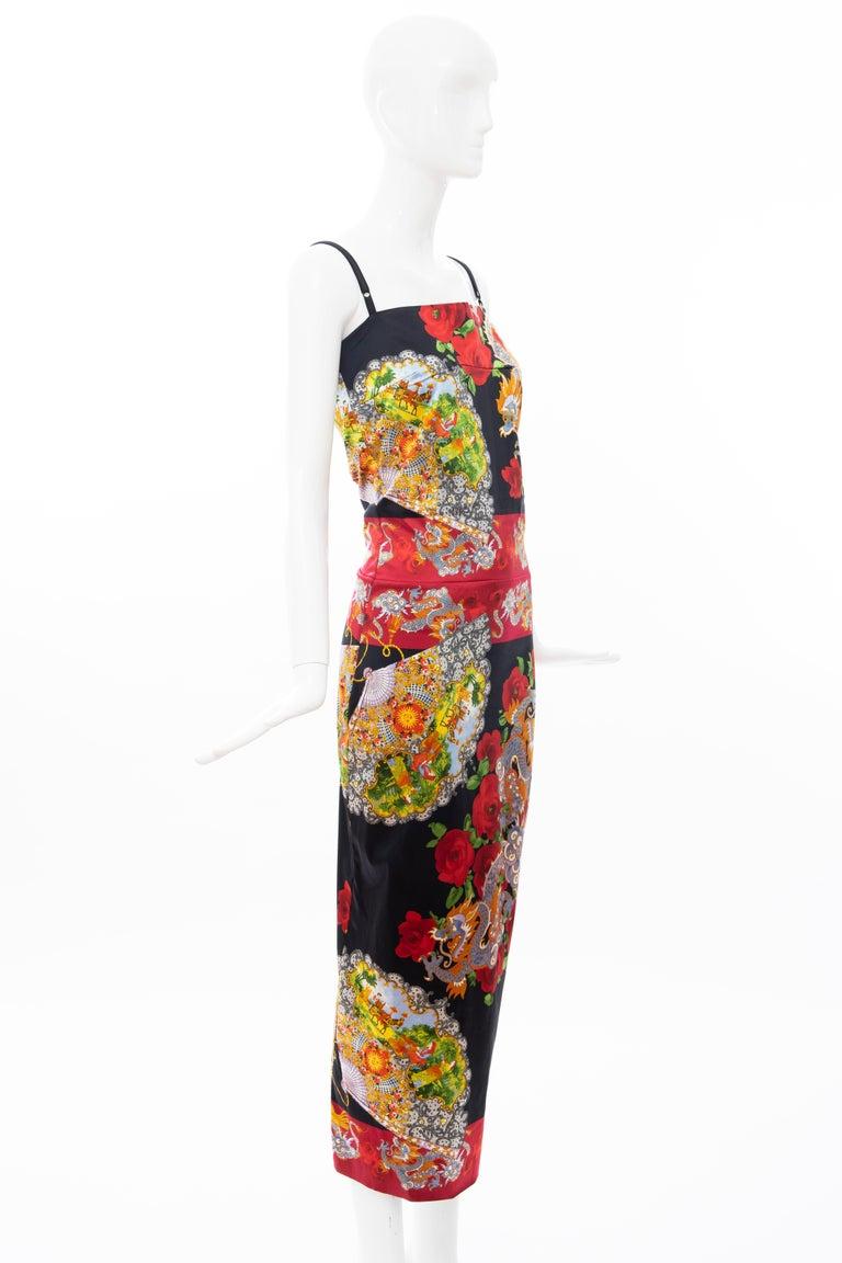 Women's Dolce & Gabbana Printed Dragon & Fan Stretch Silk Satin Evening Dress,Circa 1999 For Sale