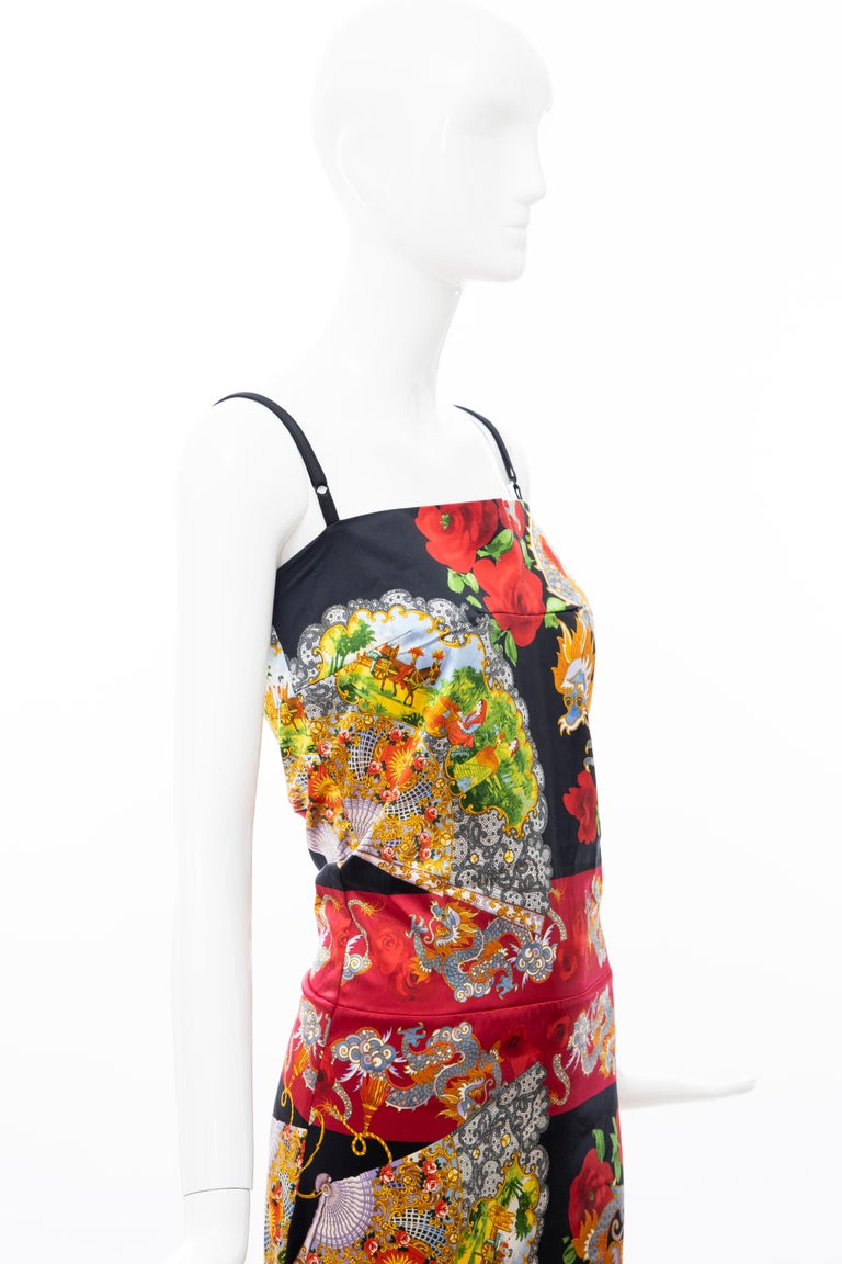 Dolce & Gabbana Printed Dragon & Fan Stretch Silk Satin Evening Dress,Circa 1999 For Sale 1